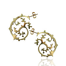 Japanese Garden Earrings in Gold by Ana Cavalheiro (Gold Earrings)
