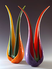 Selva Leaves by Ed Branson (Art Glass Sculpture)