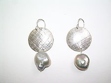 Baroque Platinum Pearls with Sterling Earrings by Diana Lovett (Silver & Pearl Earrings)