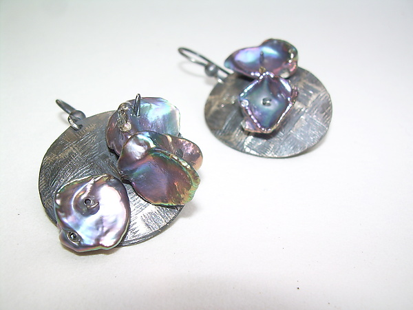 Flake Pearls and Patinaed Sterling Silver Dangles
