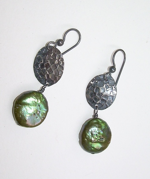 Embossed Sterling Silver and Olive Coin Pearl Earrings