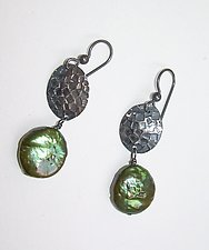 Embossed Sterling Silver and Olive Coin Pearl Earrings by Diana Lovett (Silver & Pearl Earrings)