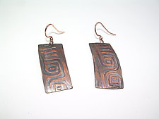 Aztek Design Earrings in Copper by Diana Lovett (Copper Earrings)