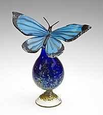Blue Morpho Bottle by Loy Allen (Art Glass Perfume Bottle)
