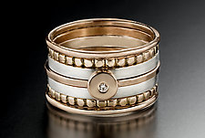 Blush Stacking Rings by Linda Bernasconi (Gold & Silver Ring)