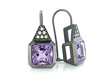 Oblique Ear Wires in Blackened Silver with Diamonds and Lavender Amethyst by Catherine Iskiw (Silver & Stone Earrings)