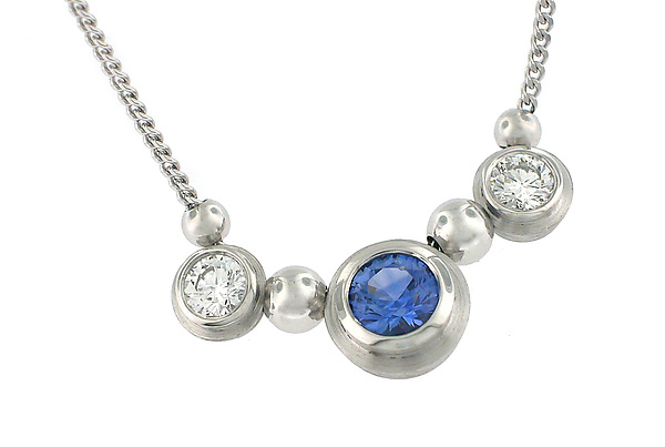 Simplicity Series 3 Stone Pendant in 18KPW with Sapphire and Diamond