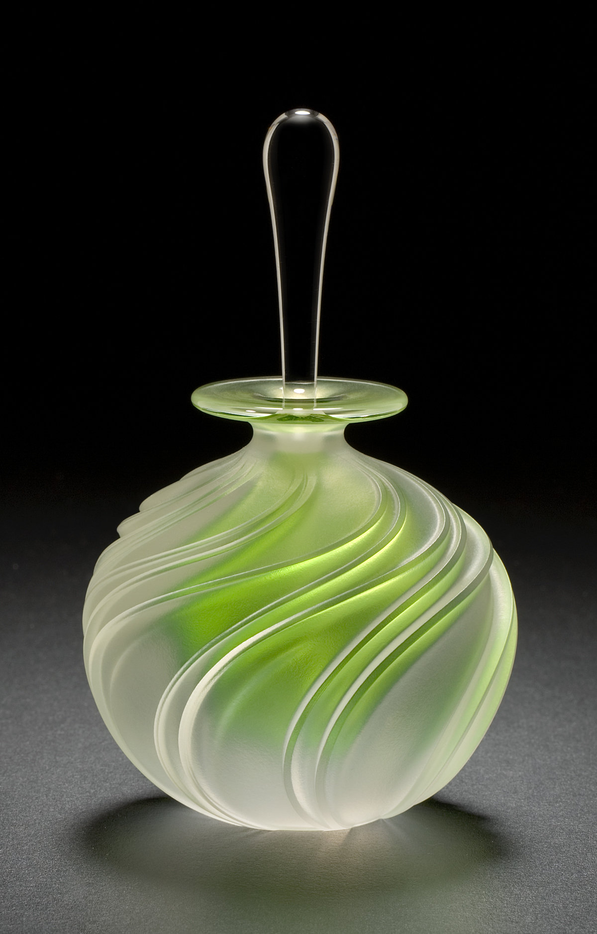 Apple Green Swirl By Mary Angus Art Glass Perfume Bottle