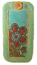 Daina's Flowers in Black by Laurie Pollpeter Eskenazi (Ceramic Tray)