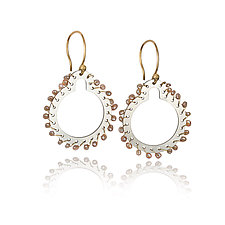 Sprocket Drop Earrings by Gillian Batcher (Silver & Pearl Earrings)