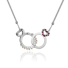 Linked Heart Necklace by Gillian Batcher (Silver & Pearl Necklace)