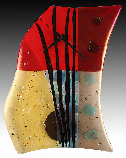 Fire and Water Fused Glass Pendulum Clock