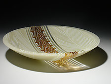 Amber Feathers Stripe Bowl by Patti & Dave Hegland (Art Glass Bowl)