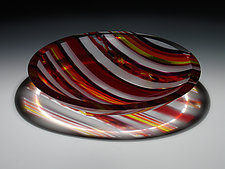 Horizons Edge Red Striped Bowl by Patti & Dave Hegland (Art Glass Bowl)