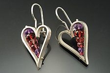 Heart Earrings in Red by Ashka Dymel (Silver & Stone Earrings)