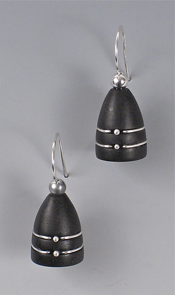Ebony Beehive Earrings with Silver Bands