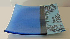 Blue Fern Plate by Alice Benvie Gebhart (Art Glass Plate)