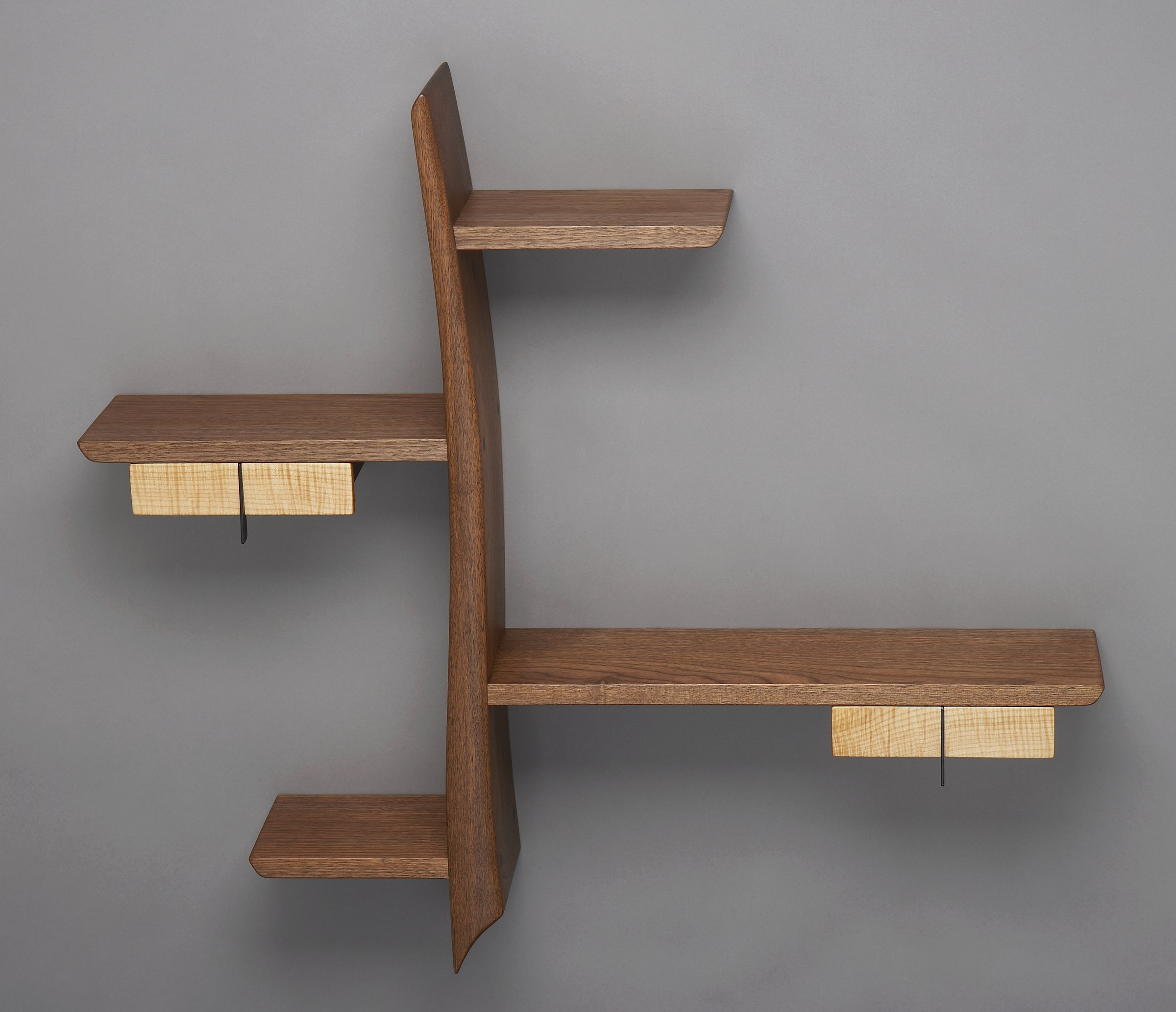 Kanji by brian hubel wood shelf artful home for Wooden furniture design