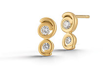 Scribble Double Stud Earring by Dana Melnick (Gold & Stone Earrings)