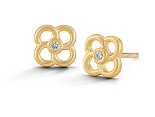 Scribble Pansy Stud Earring by Dana Melnick (Gold & Stone Earrings)