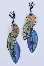 Three Painted Petal Earrings by Carol Windsor (Silver & Paper Earrings)