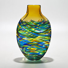 Vortex Tall Flat Tiffany with Topaz by Michael Trimpol and Monique LaJeunesse (Art Glass Vase)