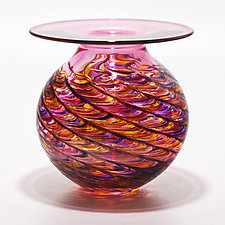Optic Rib Flared Lip in Violet Pink Sunshine with Strawberry by Michael Trimpol and Monique LaJeunesse (Art Glass Vase)