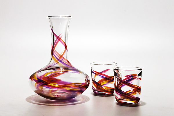 Decanter & Tumblers in Violet, Pink & Sunshine