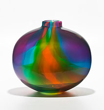 Color Ribbon Vase by Michael Trimpol and Monique LaJeunesse (Art Glass Vase)