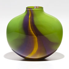 Opaque Flat Ribbon Vase by Michael Trimpol and Monique LaJeunesse (Art Glass Vase)