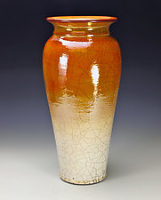 Golden Tall Raku Vessel by Lance Timco (Ceramic Vessel)