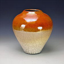 Golden Raku Vessel by Lance Timco (Ceramic Vessel)