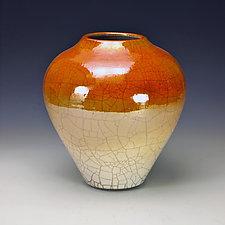 Golden Raku Vessel by Lance Timco (Ceramic Vessel)