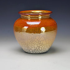 Short Golden Raku Vessel by Lance Timco (Ceramic Vessel)