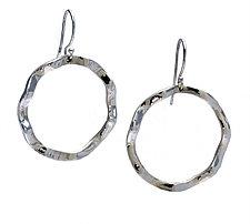 Wavy Circle Large Symbol Earrings by Kathleen Lynagh (Silver Earrings)