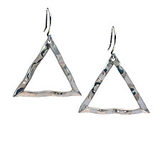 Wavy Triangle Large Symbol Earrings by Kathleen Lynagh (Silver Earrings)
