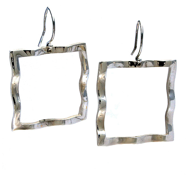 Wavy Square Large Symbol Earrings