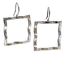 Wavy Square Large Symbol Earrings by Kathleen Lynagh (Silver Earrings)