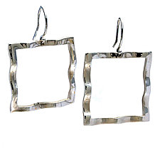 Wavy Square Large Symbol Earrings by Kathleen Lynagh (Silver Earrings)