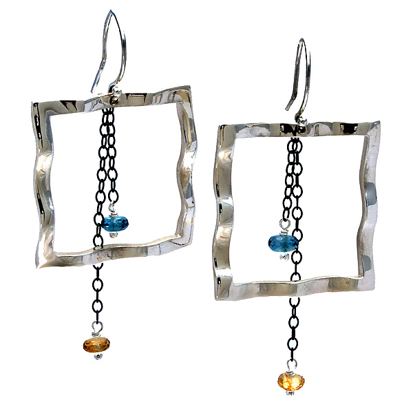 Wavy Large Square Earrings with Blue Topaz & Citrine
