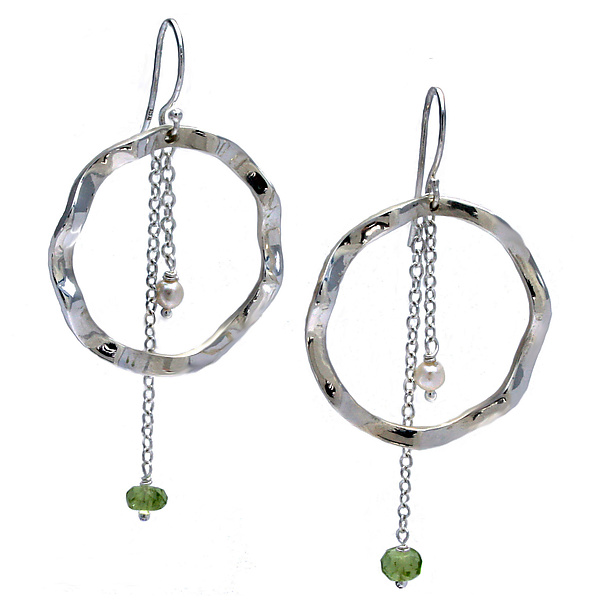 Wavy Large Circle Earrings with Pearl & Peridot accents