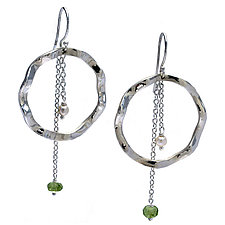 Wavy Large Circle Earrings with Pearl & Peridot accents by Kathleen Lynagh (Silver & Stone Earrings)