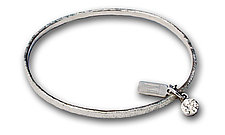 Hammered Mini Circle Charm by Kathleen Lynagh (Silver Bracelet)