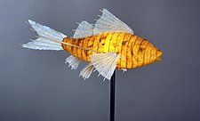 Topaz Koi Light Sculpture by Lara Fisher (Mixed-Media Lamp)