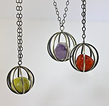 Gem Cages by Ashley Vick (Silver & Stone Necklace)