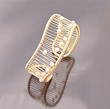 Kinetic White Pearl Cuff on Gold-filled Wire by Tana Acton (Gold & Pearl Bracelet)