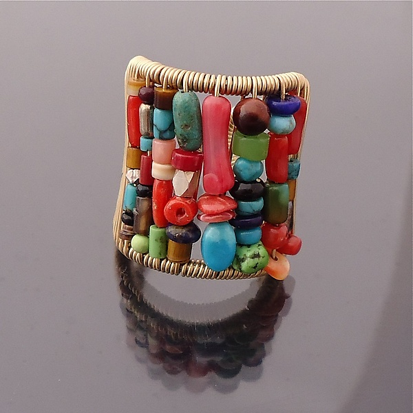 Tall Multi-color Stone Ring