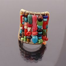 Tall Multi-Color Stone Ring by Tana Acton (Gold & Stone Earrings)
