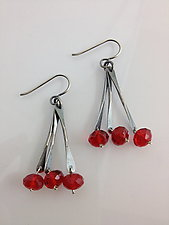 Red Triple Drop Earrings by Erica Stankwytch Bailey (Silver & Stone Earrings)