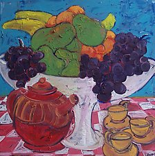 Fruit and Tea by Elisa Root (Oil Painting)